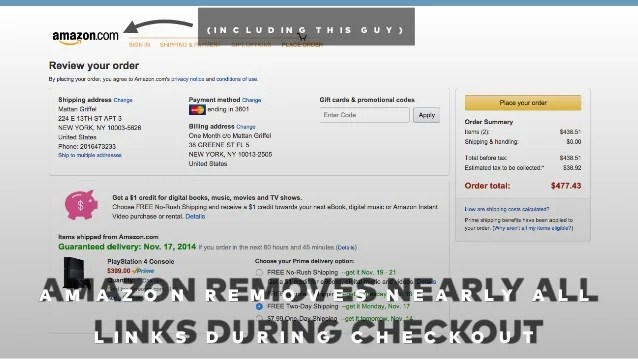 Amazon removes all links that lead outwards in checkout