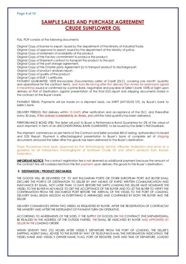 Purchase Agreement Letter Of Credit Visorgede
