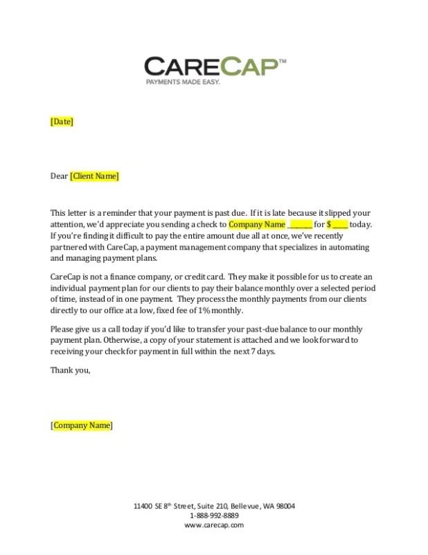 overdue bill letter. carecap 31 89 day past due payment letter ...