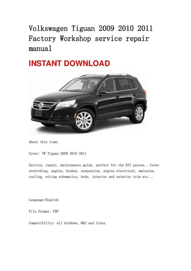 Volkswagen Tiguan 2009 2010 2011 repair manual