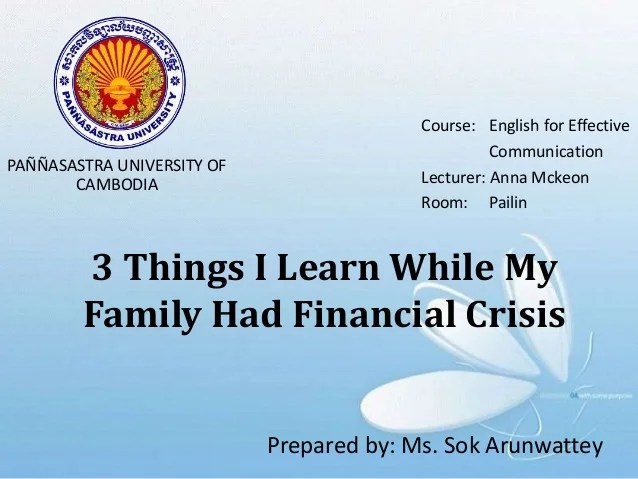 3 things i leaned while my family had financial crisis