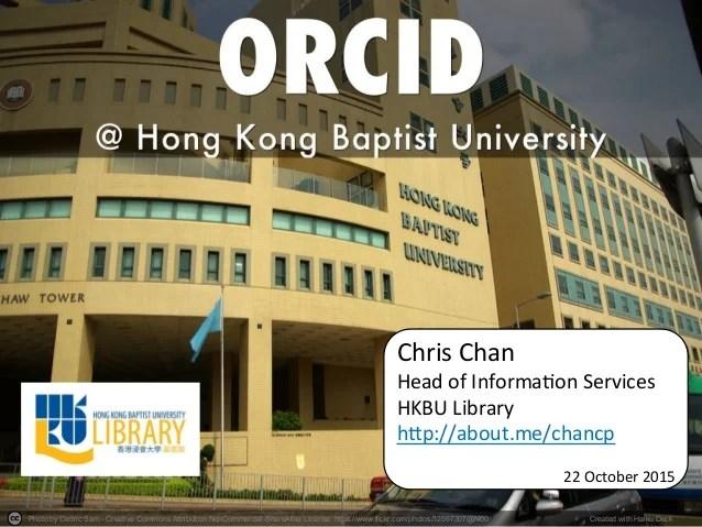 ORCID @ Hong Kong Baptist University (C. Chan)