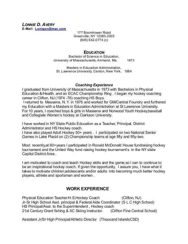 resume for sports coach