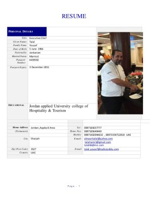 Resume Chef Talal Yousef1