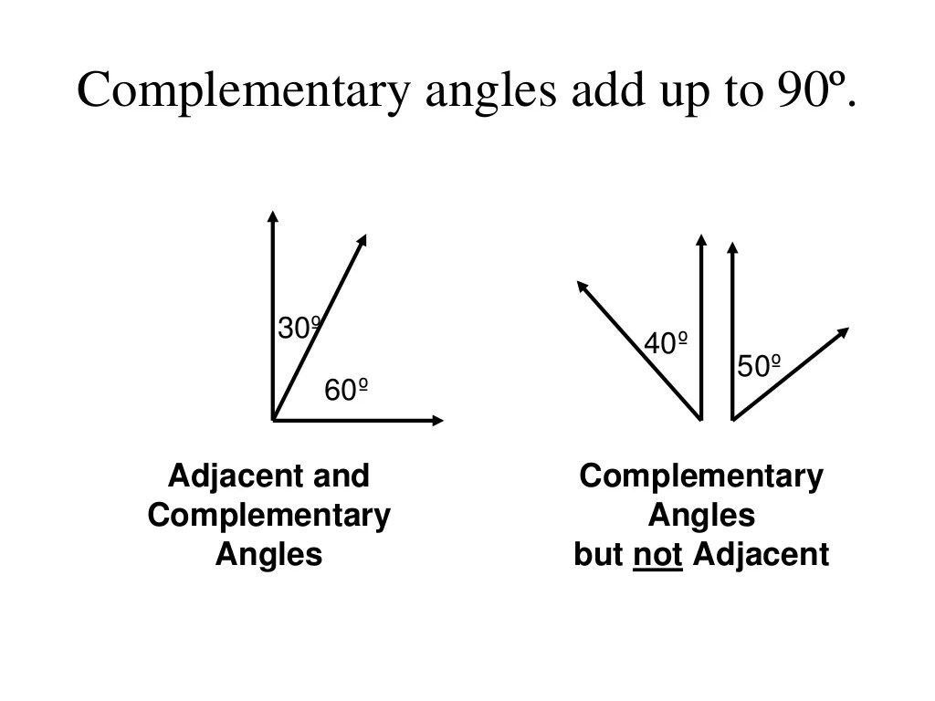 Angle Pairs Complementary Supplementary Adjacent