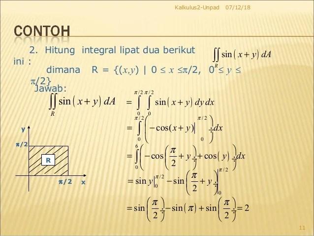 Integral lipat dua dengan daerah integrasi berupa daerah persegi panjang dapat. Integral Lipat Dua Kalkulus 2