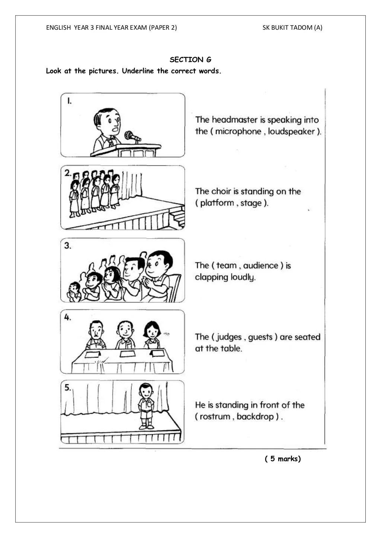 English Test Year 3 Paper 2