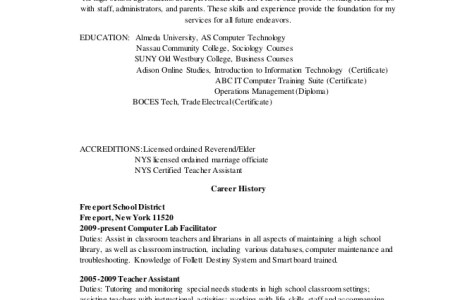 Free Resume 2018 » teacher assistant certification nyc | Free Resume