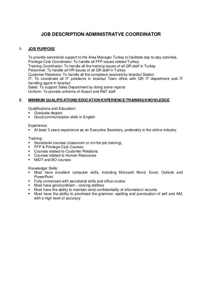 Job Description Administrative Coordinator