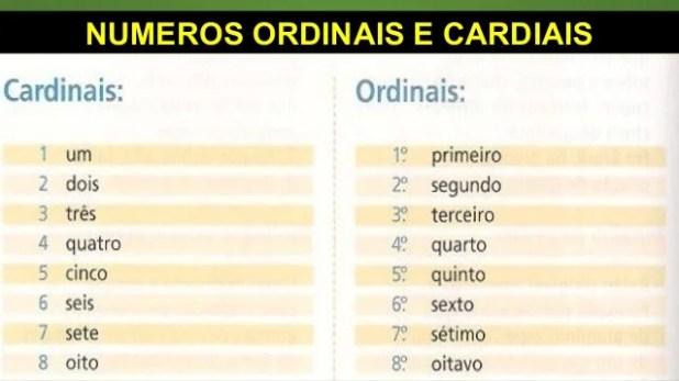 NUMEROS ORDINAIS E CARDIAIS