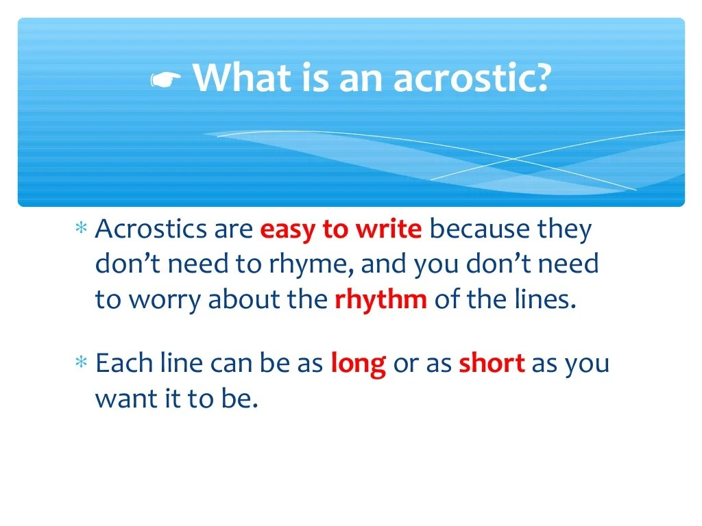 Acrostic Poems Ppt