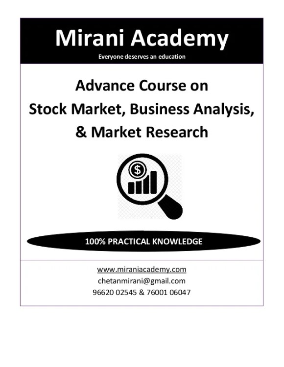Advance Course on Stock Market, Business Analysis and Market Research…