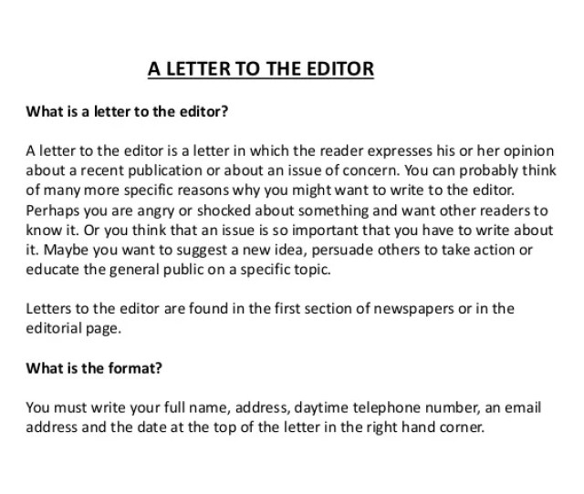 A Letter To The Editor What Is A Letter To The Editor A Letter To
