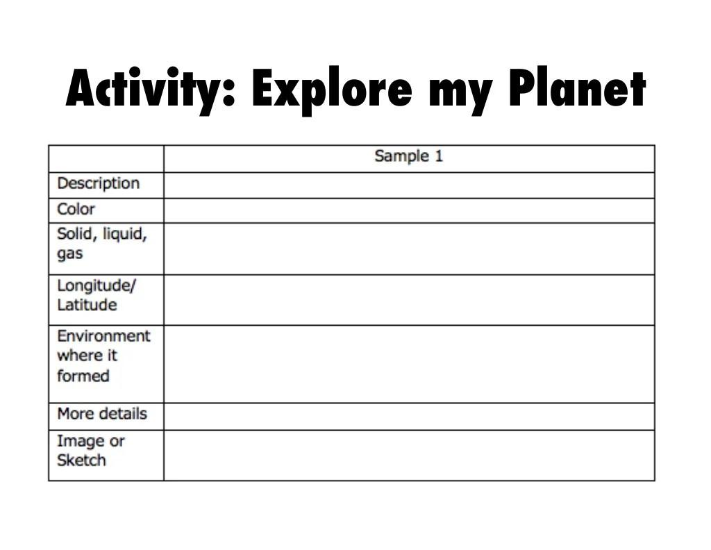 Activity Explore My Planet