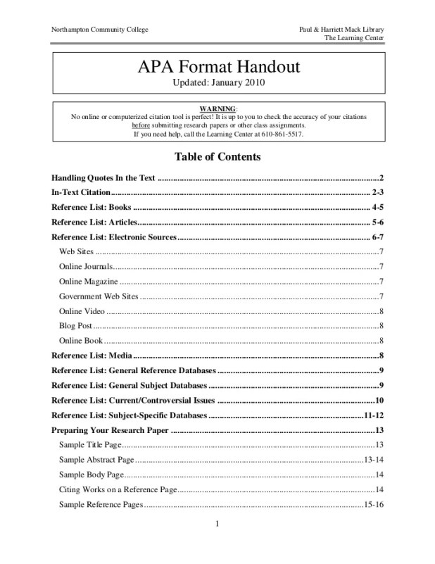 apa dissertation table contents Manual for the formatting of graduate dissertations and theses  a dissertation  apa format [sample: table of contents.