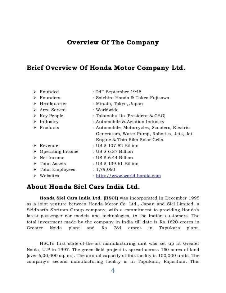 A Report On Visit To Honda Motors Dilip