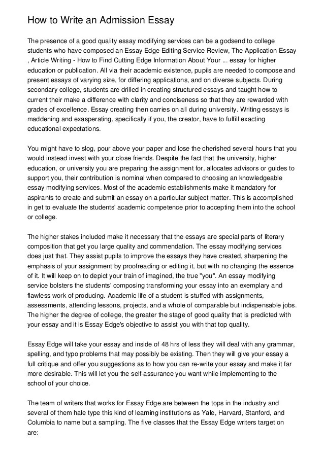 college admissions essay introduction Free essay: each year colleges around the world rally to obtain the best and brightest students success is the key factor for this search, as colleges and.