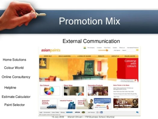 27 Promotion Mix External Communication Home Solutions Colour World Online Consultancy Helpline Estimate Calculator Paint