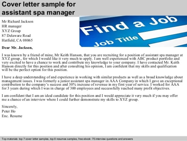 Cover Letter Sample For Spa Manager Job | Howtoviews.co