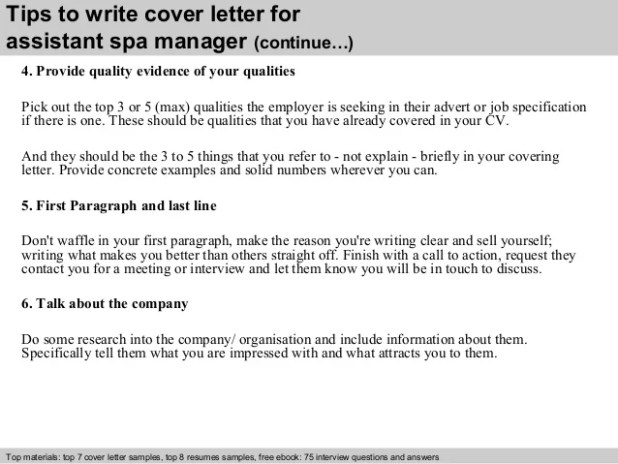 spa manager cover letter examples ideas collection leading ...