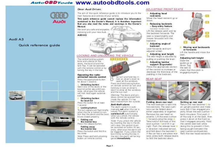Audi a3 quick reference guide diagram user manual