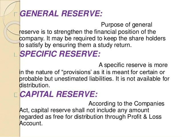 Image result for General Reserve MEANING accounts