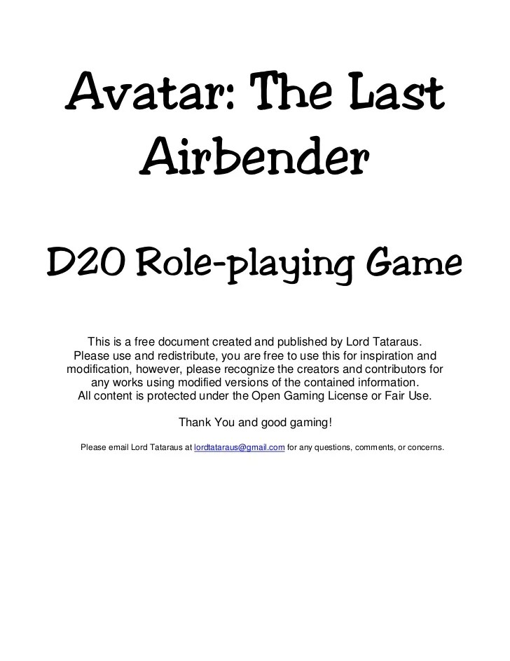 Avatar The Last Airbenderd Role Playing Game This Is A Free Do Ent Created And
