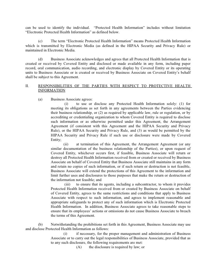 """This contract (agreement) constitutes a business associate relationship under the health insurance portability and accountability act (""""hipaa"""") and its implementing privacy and security regulations at 45 c.f.r. Sample Business Associate Agreement"""