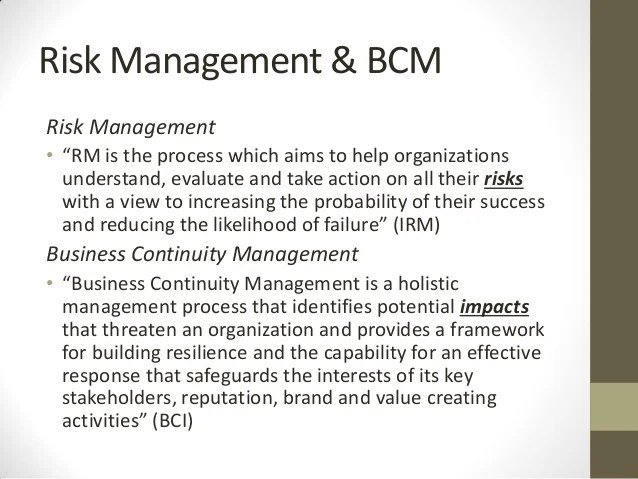 Incorporating Risk Management into BCP