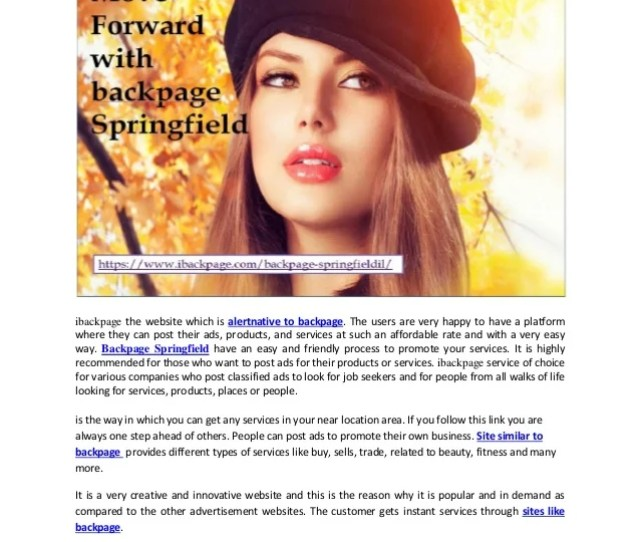 Move Forward With Backpage Springfield Ibackpage The Website Which Is Alertnative To Backpage