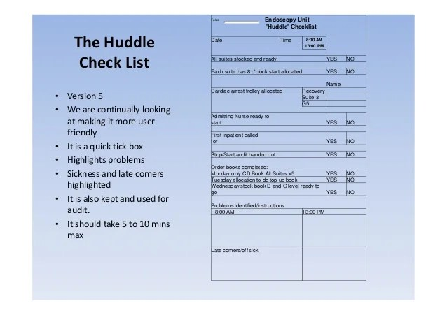 Board Template Nursing Huddle