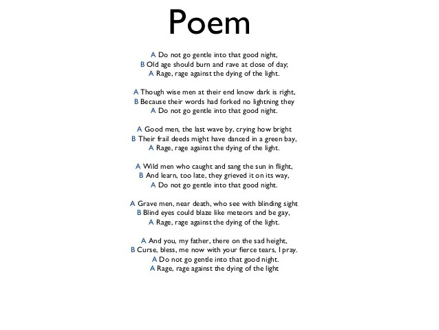 Rage Rage Against Dying Light Poem