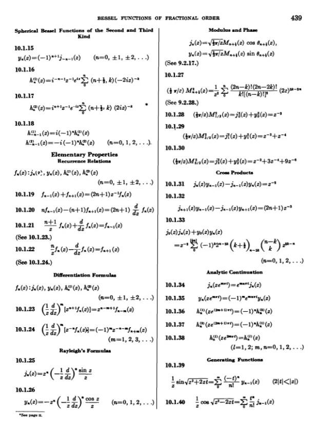 table of bessel function zeros