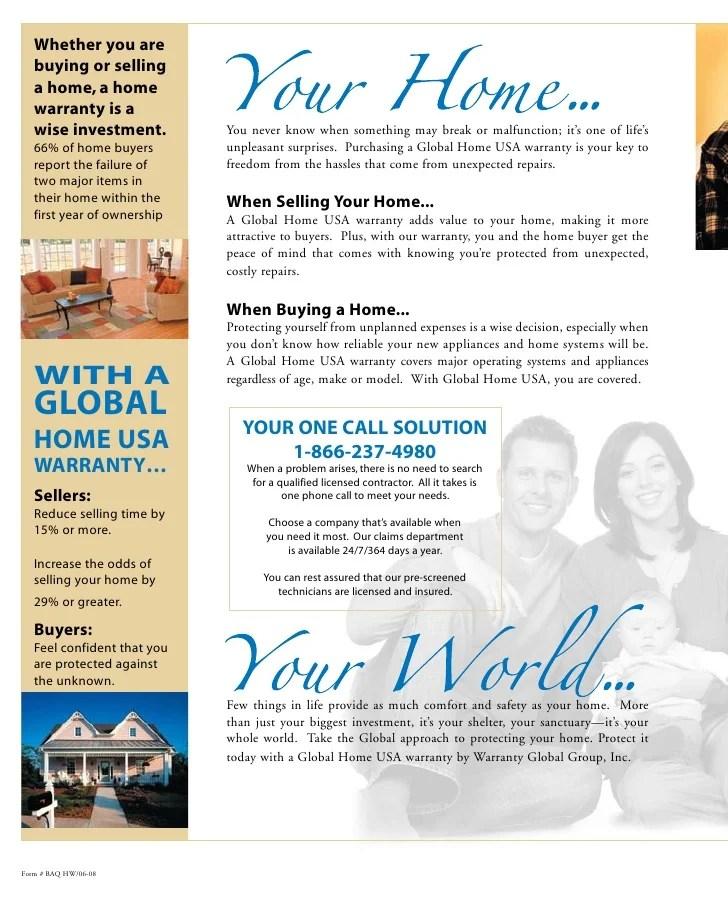 Global Home USA: Home Warranty 1 year