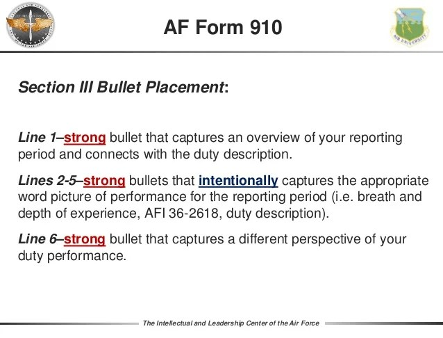 Af Form 910 34 The Intellectual And Leadership Center Of Air Force Section Iii Bullet