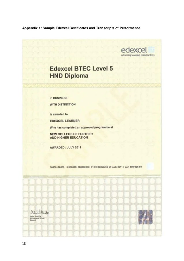 Edexcel Certificate Sample