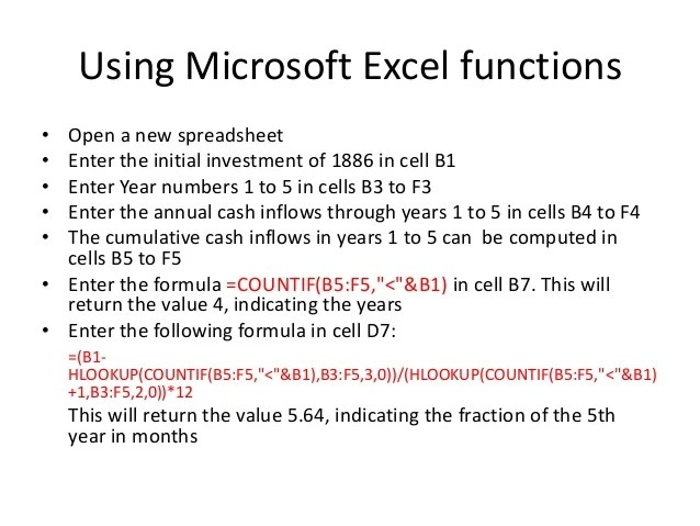 Equation Payback Period