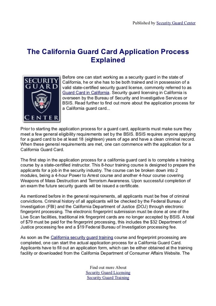California Armed Guard Card