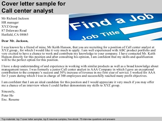 Top Call Center Analyst Cover Letter Galleries - Professional Resume ...