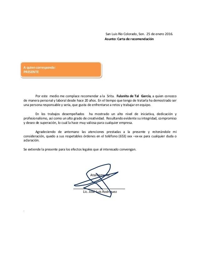 Carta De Recomendacion 2016