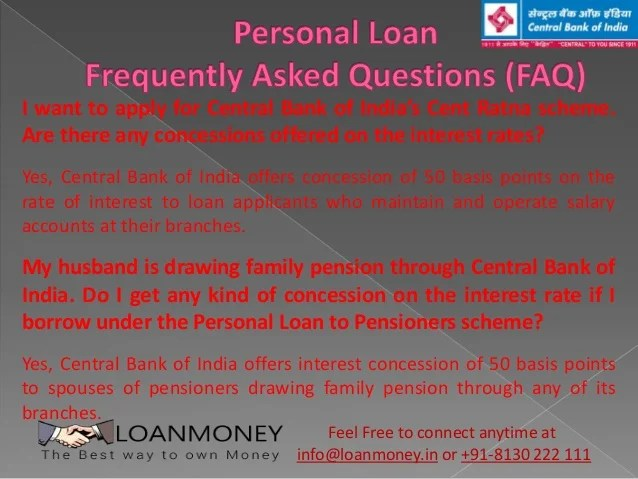 Central Bank Personal Loan
