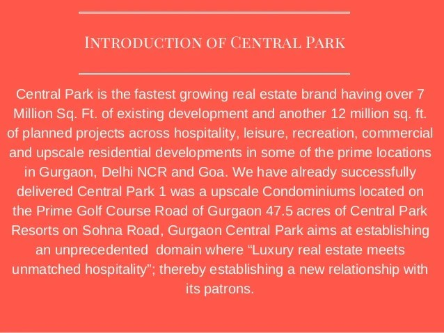 Central park fastest growing brand in real estate