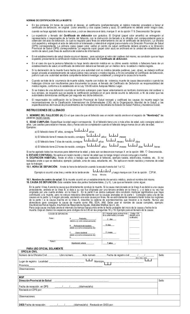 Certificado De Defuncion De La Repblica Dominicana