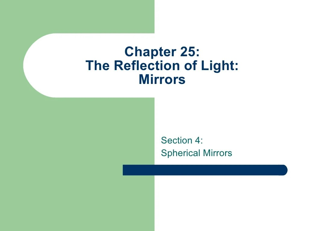 Ch 25 Light Reflection Mirrors