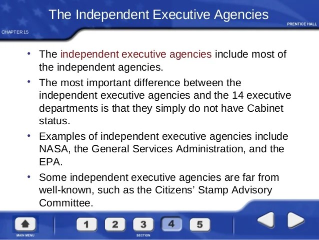 The Heads Of Cabinet Departments And Independent Agencies Answer To