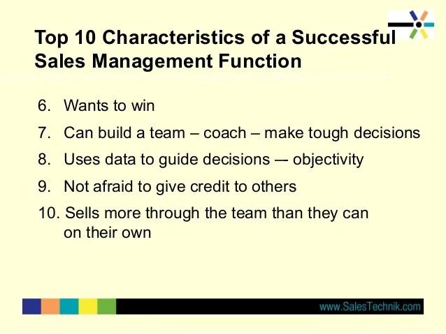 Characteristics of great sales management