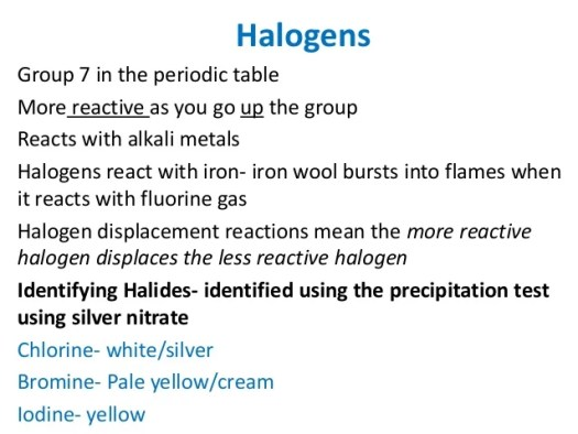 Periodic table group 7 properties periodic diagrams science 6 halogens group 7 in the periodic table urtaz Gallery