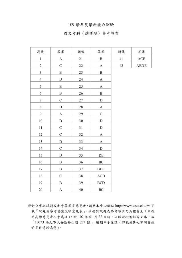 109學測國文參考答案