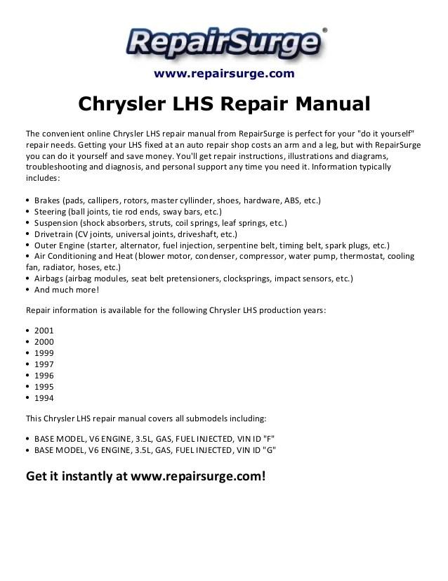 Chrysler LHS Repair Manual 19942001