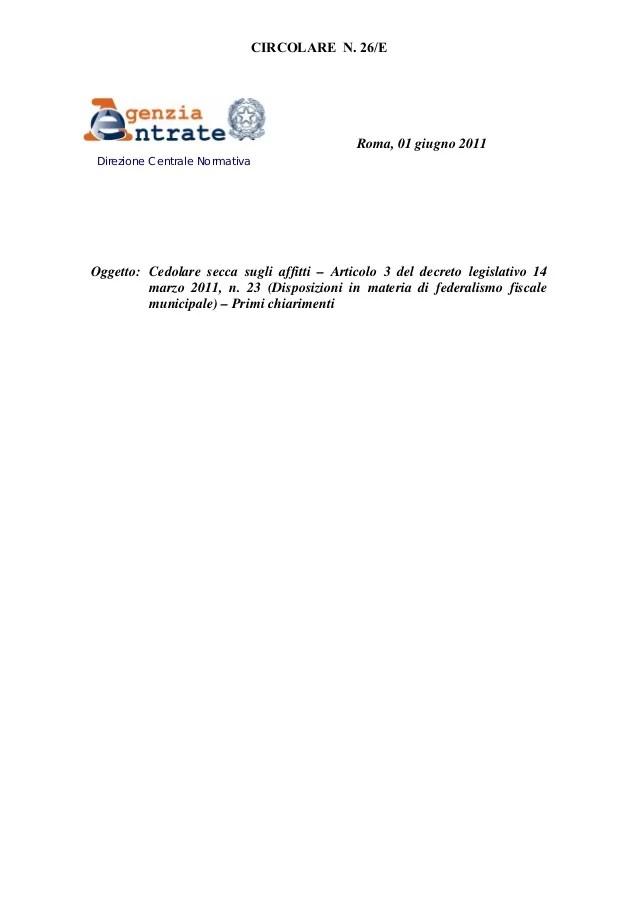 Circolare Agenzia Delle Entrate 26 Del 1 Giugno 2011